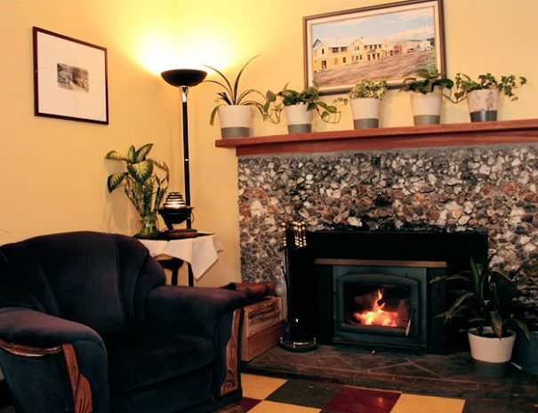 Fireplace lounge at The Wells Hotel, Wells, BC
